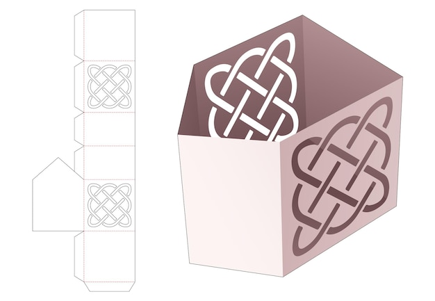 Hoek briefpapier doos met sjabloon gestanst lijnsjabloon