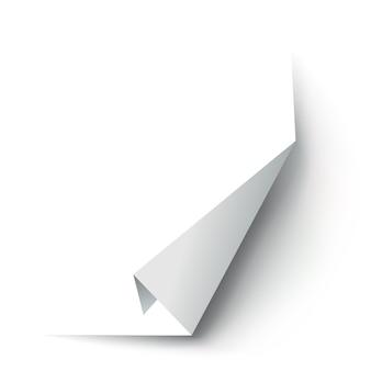 Hoek van gekruld papier. gebogen paginahoek, paginarand gekruld en gebogen vel papier met realistische schaduw.