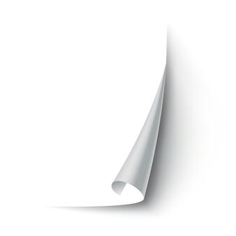 Hoek van gekruld papier