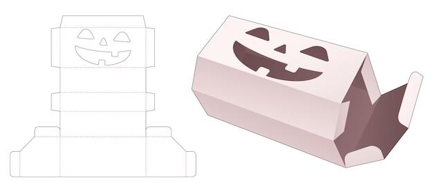 Hoekdoos met gestencild halloween-patroon gestanst sjabloon Premium Vector