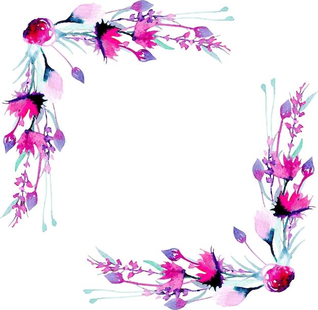 Hoekgrenskader met eenvoudige waterverf roze wildflowers en lavendel