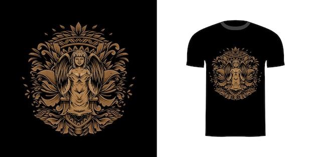 Hoekillustratie met gravureornament voor tshirt Premium Vector