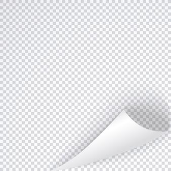 Hoeksjabloon voor pagina met schaduw, gebogen blad van witte lijst, gekrulde transparante notitie.