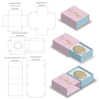 Hoes stijve doos voor zeep mockup met dieline