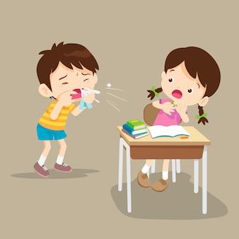 Hoesten kind naar vriendin