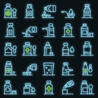 Hoestsiroop pictogrammen instellen. overzicht set van hoestsiroop vector iconen neon kleur op zwart