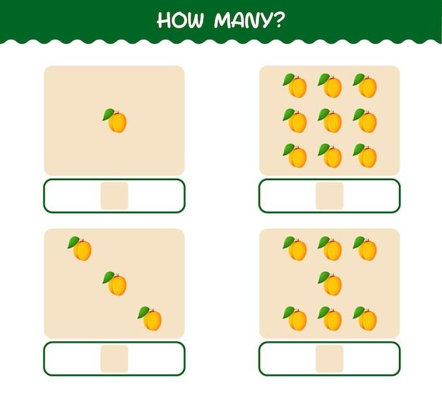 Hoeveel cartoon abrikoos. spel tellen. educatief spel voor kleuters en kleuters