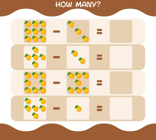 Hoeveel cartoon abrikoos. spel tellen. educatief spel