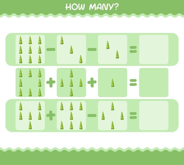 Hoeveel cartoon bamboe schieten. tellen spel. educatief spel voor kinderen en peuters in de kleuterklas