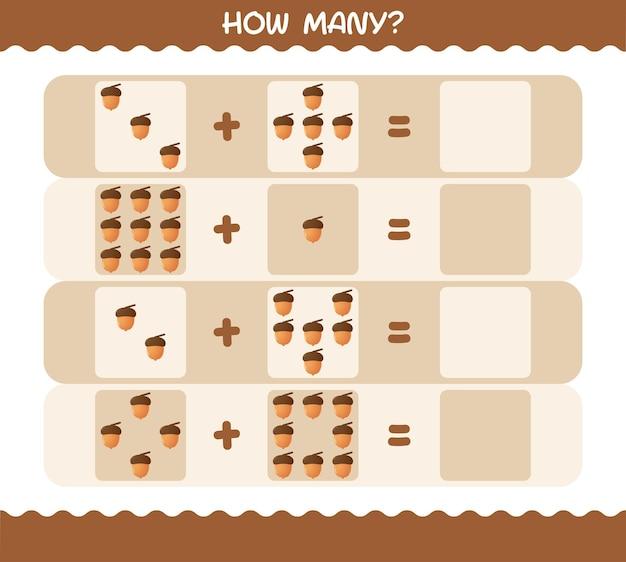 Hoeveel cartoon eikel. tellen spel. educatief spel voor kinderen en peuters in de kleuterklas