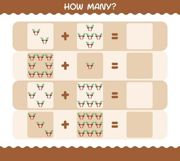 Hoeveel cartoon gewei hoofdband. tellen spel. educatief spel voor kinderen en peuters in de kleuterklas