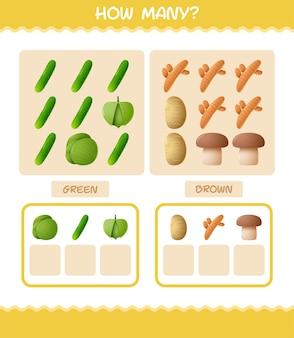Hoeveel cartoon groenten. tellen spel. educatief spel voor kinderen en peuters in de kleuterklas