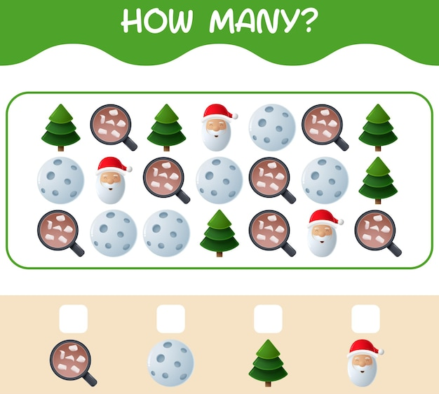 Hoeveel cartoon kerst. tellen spel. educatief spel voor kinderen en peuters in de kleuterklas