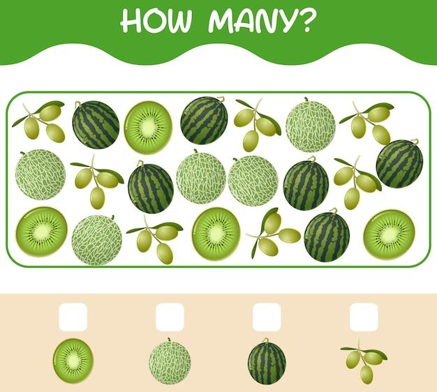 Hoeveel cartoonvruchten. spel tellen. educatief spel voor kleuters en kleuters