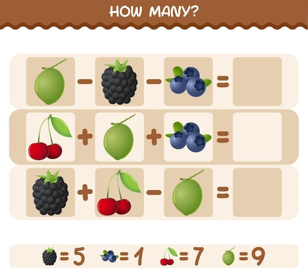 Hoeveel cartoonvruchten. spel tellen. educatief spel
