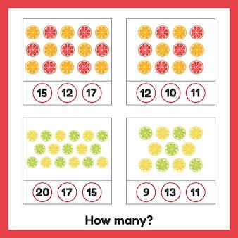 Hoeveel fruit. citroen, sinaasappel, grapefruit, limoen. werkblad voor kinderen.