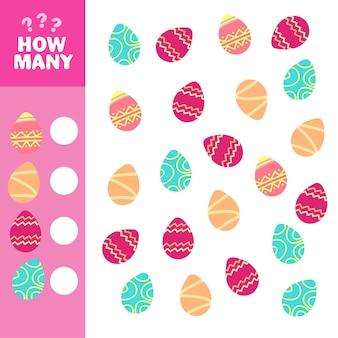 Hoeveel is een educatief spel. rekentaak voor de ontwikkeling van logisch denken van kinderen. tel hoeveel eieren en noteer het resultaat.