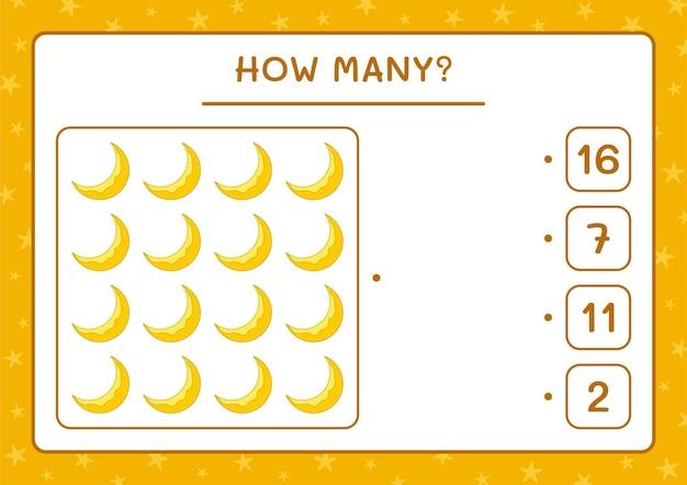 Hoeveel maan, spel voor kinderen. vectorillustratie, afdrukbaar werkblad
