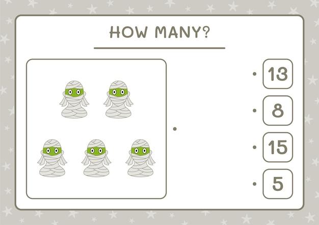 Hoeveel mama, spel voor kinderen. vectorillustratie, afdrukbaar werkblad