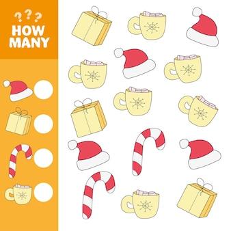 Hoeveel objecten taak. educatief wiskundespel voor kleuters. telspel voor kinderen. kerstmis. geschenken.