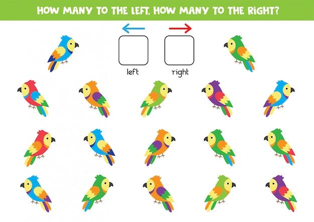 Hoeveel papegaaien gaan naar rechts en naar links. logica spel voor kinderen.