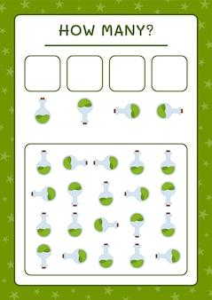 Hoeveel potion bottle, spel voor kinderen. vectorillustratie, afdrukbaar werkblad