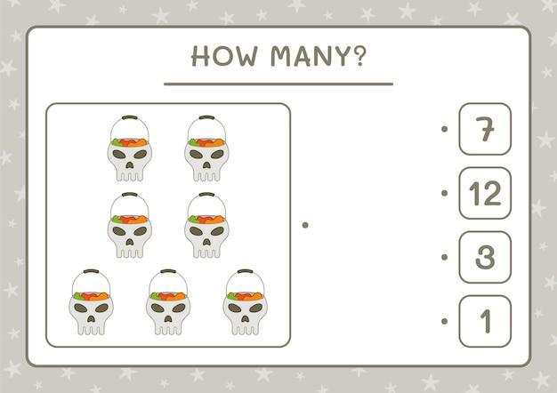 Hoeveel skull, spel voor kinderen. vectorillustratie, afdrukbaar werkblad