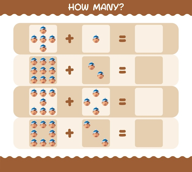 Hoeveel tekenfilmjongens. tellen spel. educatief spel voor kinderen en peuters in de kleuterklas