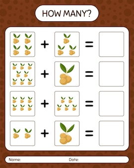 Hoeveel tellen game longan. werkblad voor kleuters, activiteitenblad voor kinderen, afdrukbaar werkblad
