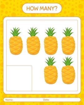 Hoeveel tellen spel met ananas. werkblad voor kleuters, activiteitenblad voor kinderen, afdrukbaar werkblad