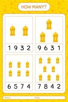 Hoeveel tellen spel met arabische lantaarn. werkblad voor kleuters, activiteitenblad voor kinderen, afdrukbaar werkblad