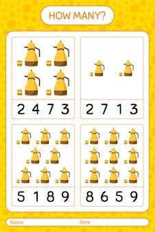 Hoeveel tellen spel met arabische theepot. werkblad voor kleuters, activiteitenblad voor kinderen, afdrukbaar werkblad