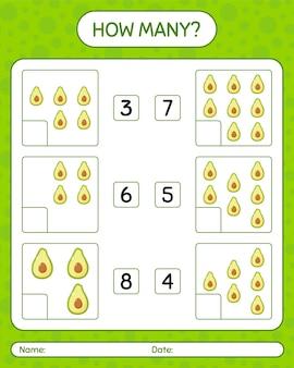Hoeveel tellen spel met avocado-werkblad voor kleuters, activiteitenblad voor kinderen, afdrukbaar werkblad