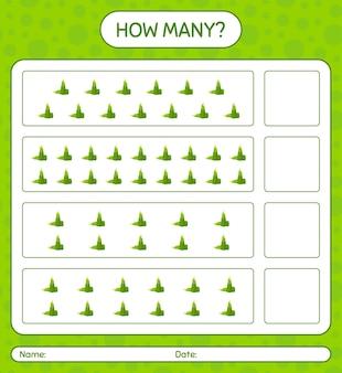Hoeveel tellen spel met bamboe schieten. werkblad voor kleuters, activiteitenblad voor kinderen