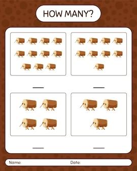Hoeveel tellen spel met bedug-trommel. werkblad voor kleuters, activiteitenblad voor kinderen, afdrukbaar werkblad