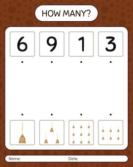 Hoeveel tellen spel met bezem. werkblad voor kleuters, activiteitenblad voor kinderen