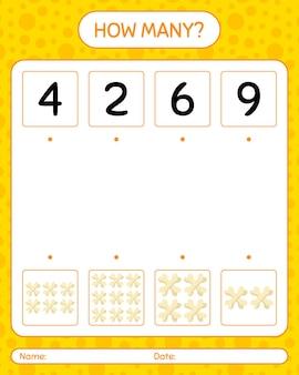 Hoeveel tellen spel met bot. werkblad voor kleuters, activiteitenblad voor kinderen