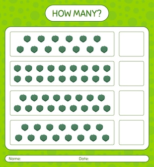 Hoeveel tellen spel met eikelpompoen. werkblad voor kleuters, activiteitenblad voor kinderen