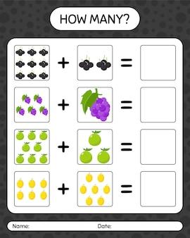 Hoeveel tellen spel met fruit. werkblad voor kleuters, activiteitenblad voor kinderen, afdrukbaar werkblad