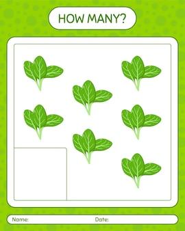Hoeveel tellen spel met groenten. werkblad voor kleuters