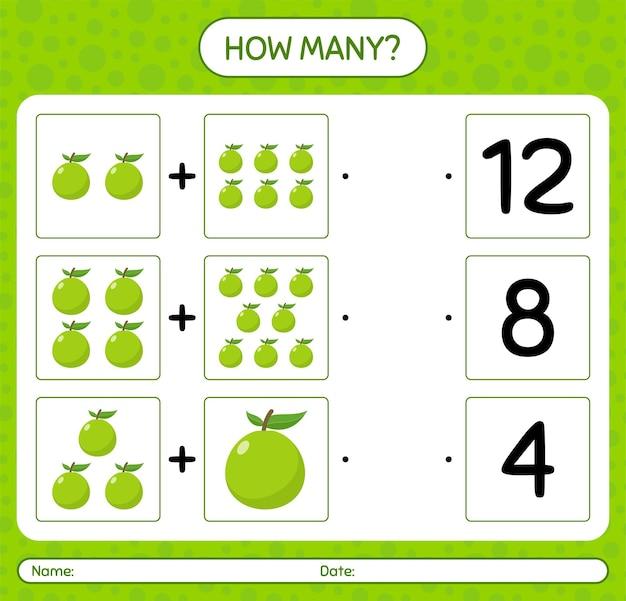 Hoeveel tellen spel met guave. werkblad voor kleuters, activiteitenblad voor kinderen, afdrukbaar werkblad