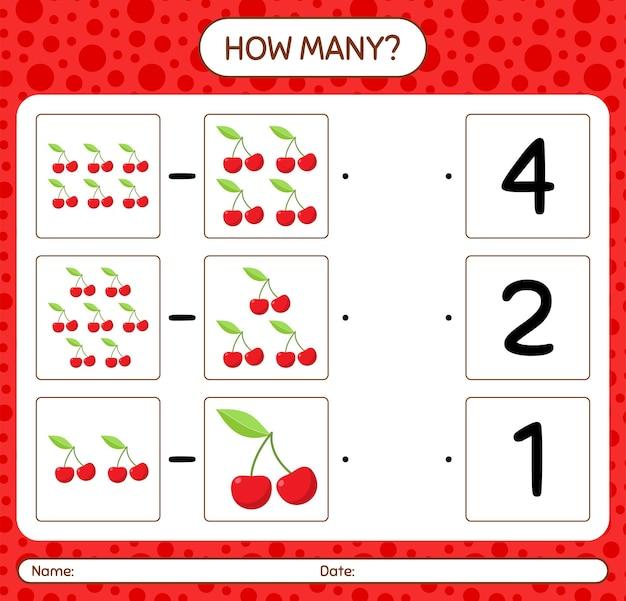 Hoeveel tellen spel met kersenwerkblad voor kleuters, activiteitenblad voor kinderen, afdrukbaar werkblad
