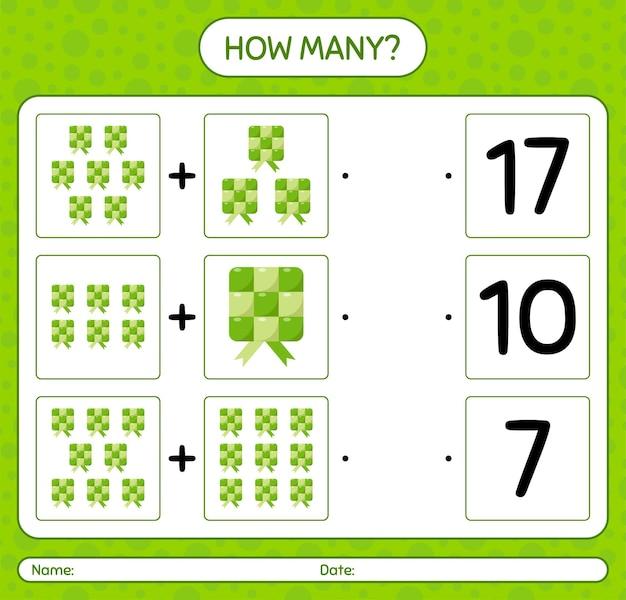 Hoeveel tellen spel met ketupat. werkblad voor kleuters, activiteitenblad voor kinderen, afdrukbaar werkblad
