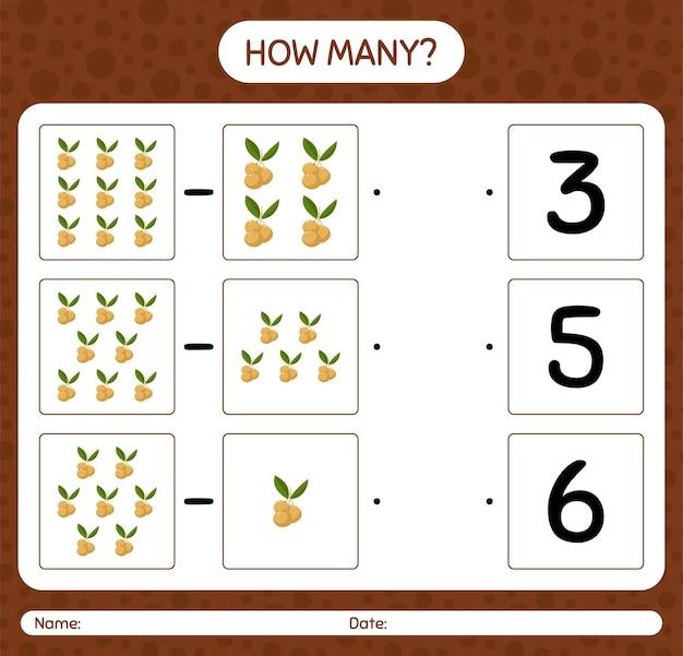 Hoeveel tellen spel met longan-werkblad voor kleuters, activiteitenblad voor kinderen, afdrukbaar werkblad