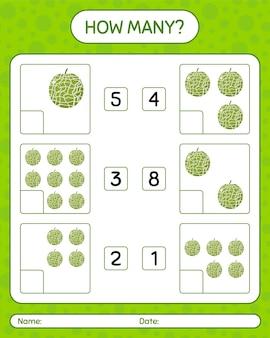 Hoeveel tellen spel met meloen-werkblad voor kleuters, activiteitenblad voor kinderen, afdrukbaar werkblad