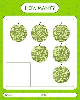 Hoeveel tellen spel met meloen. werkblad voor kleuters, activiteitenblad voor kinderen, afdrukbare workshee