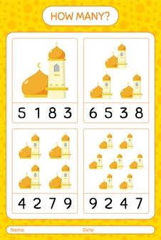 Hoeveel tellen spel met moskee. werkblad voor kleuters, activiteitenblad voor kinderen, afdrukbaar werkblad