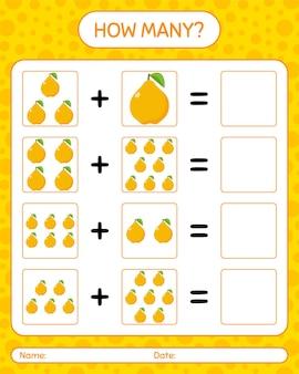 Hoeveel tellen spel met quence. werkblad voor kleuters, activiteitenblad voor kinderen, afdrukbaar werkblad