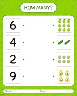 Hoeveel tellen spel met quenepa, watermeloen, komkommer, avocado. werkblad voor kleuters, activiteitenblad voor kinderen, afdrukbaar werkblad
