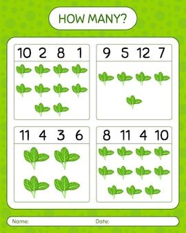 Hoeveel tellen spel met spinazie. werkblad voor kleuters, activiteitenblad voor kinderen, afdrukbaar werkblad